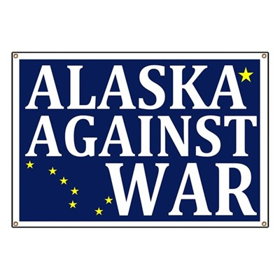 This rugged outdoor banner featuring the Alaska State Flag demonstrates your opposition to war as a principled, peaceful Alaskan.