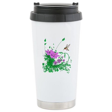 Hummingbird Garden  Flowers Ceramic Travel Mug by CafePress