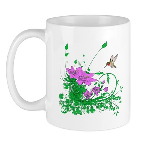 Hummingbird Garden  Flowers Mug by CafePress