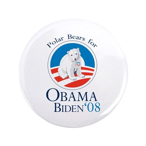 Polar Bears for Obama Biden 3.5quot; Button 100 Obama 3.5 Button 100 pack by CafePress