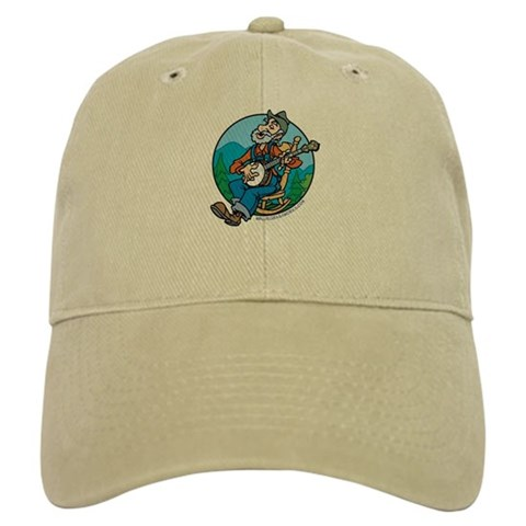 : Banjoman, Bluegrass Works Logo white or tan Music Cap by CafePress