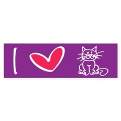 I Heart Cats Sticker (Bumper)
