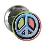 "Painted Peace Sign 2.25"" Button (10 pack)"