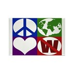 Peace, Earth, Love, Not W Rectangle Magnet