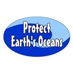 Protect Earth's Oceans Oval Sticker