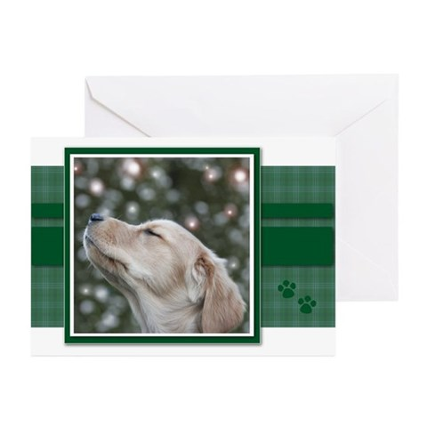 Golden Christmas Wishes Greeting Cards Package of Pets Greeting Cards Pk of 10 by CafePress