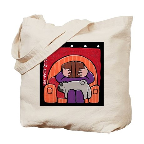 Pug Supports Reading Tote Bag