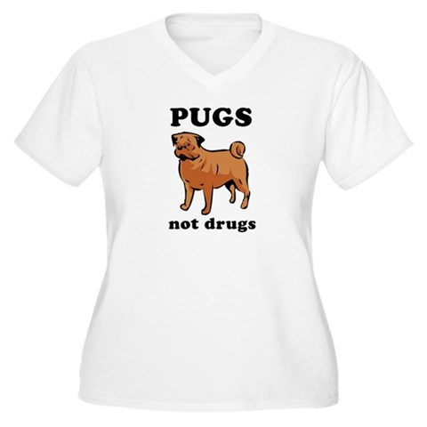 'Pugs Not Drugs'  Funny Women's Plus Size V-Neck T-Shirt by CafePress