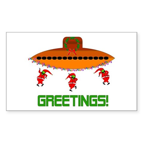 Space Aliens Christmas Rectangle Sticker 10 pk Christmas Sticker Rectangle 10 pk by CafePress