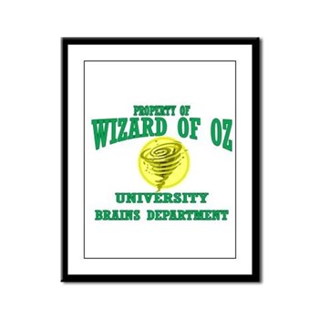 Property of Brains Logo Framed Panel Print | Wonderful Wizard of Oz Clothing | Wizard of Oz T-Shirts