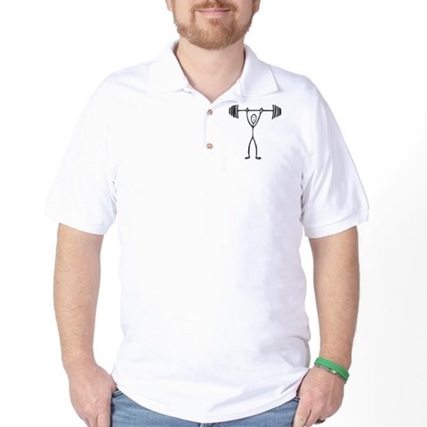 Product Image of Stick figure weight lifter Golf Shirt