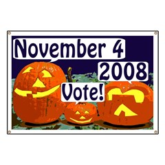 Jack O'Lantern Activism!  Halloween Pumpkins Say Vote November 4, 2008 Banner