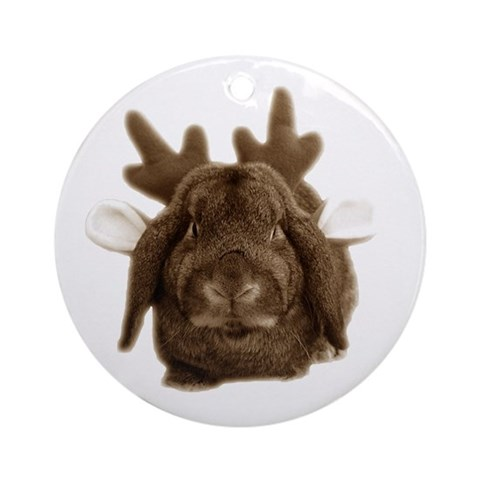 Christmas little reindeer ornament Pets Round Ornament by CafePress
