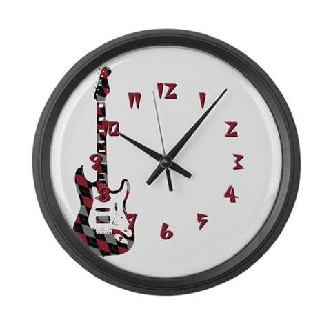 Argyle Electric Guitar  Music Large Wall Clock by CafePress