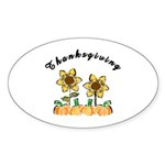 Thanksgiving Flowers Sticker (Oval 10 pk)