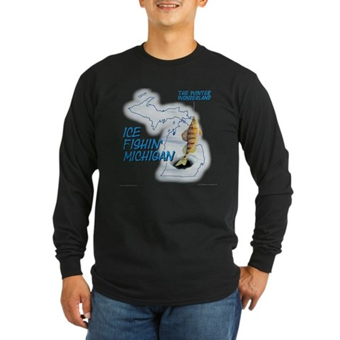 - Design Printed on Front Fishing Long Sleeve Dark T-Shirt by CafePress