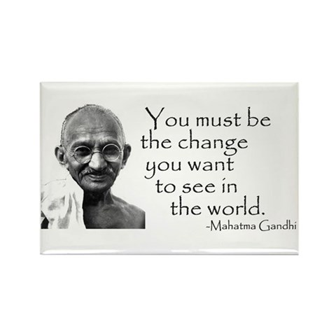- Be the change...  Peace Rectangle Magnet by CafePress