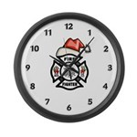Christmas Firefighter Large Wall Clock