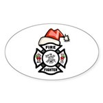 Christmas Firefighter Sticker (Oval 10 pk)