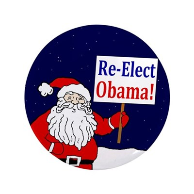 "Santa: Re-Elect Obama 3.5"" Button"