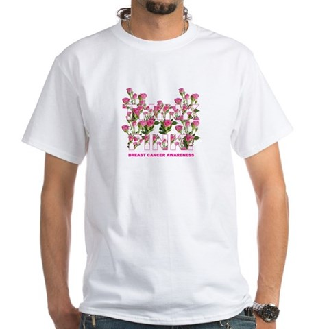 THINK PINK Roses Sports White T-Shirt