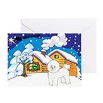 Log Cabin Bichon Frise Christmas Ornaments