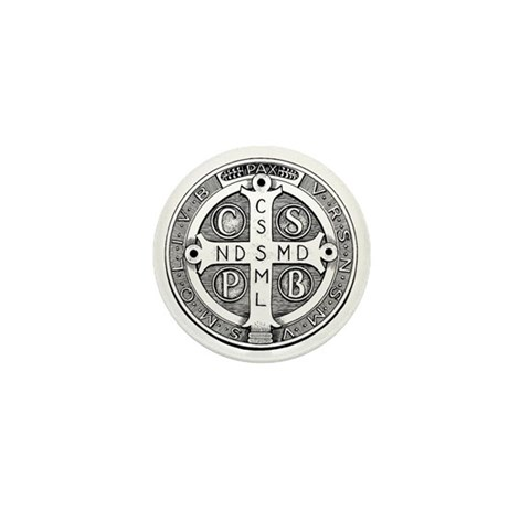 - Reverse of Medal of Saint Benedict Cross Mini Button by CafePress