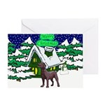 Country Chocolate Lab Christmas Cards & Gifts