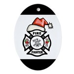 Christmas Firefighter Ornament (Oval)