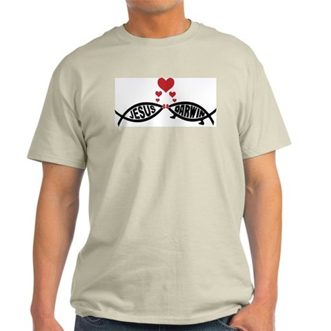 Jesus loves Darwin Jesus darwin fish kiss evolution god Light T-Shirt by CafePress