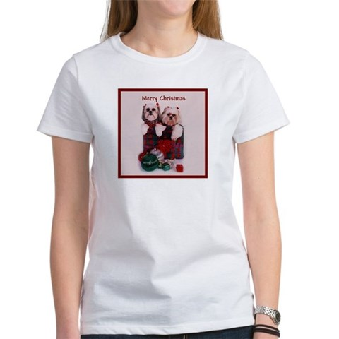 Shih Tzu Christmas Shopping Bag Pets Women's T-Shirt by CafePress