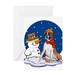 Boxer Dog and Snowman