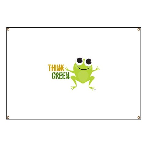 Cute Frog  Think Green  Cute Banner by CafePress