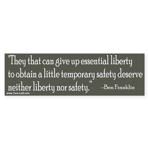 - Franklin quote on liberty Quotes Bumper Sticker by CafePress