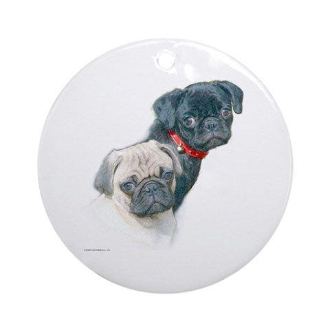 Two Pugs Ornament Round Pets Round Ornament by CafePress