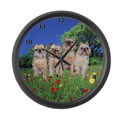 Brussels Griffon Sharon's Gang  Pets Large Wall Clock by CafePress