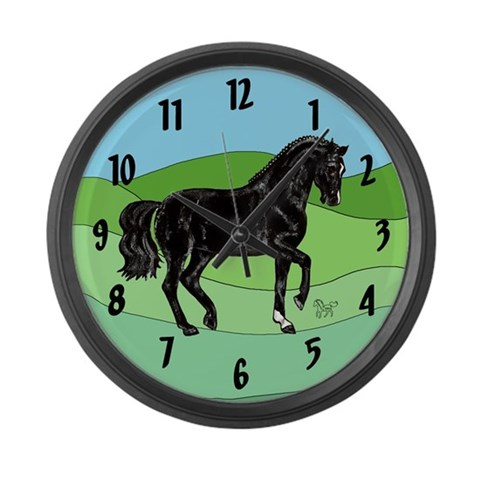 Black Horse  Horse Large Wall Clock by CafePress