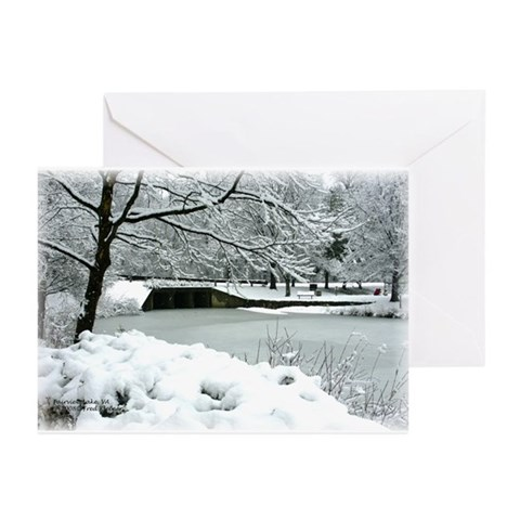 :LAKE BRIDGE IN WINTER Photography Greeting Cards Pk of 20 by CafePress