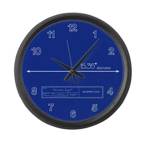 Blueprint  Holidays / occasions Large Wall Clock by CafePress