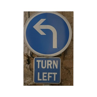Turn Left Rectangular Fridge Magnet