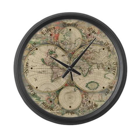 1689 World Map  Hobbies Large Wall Clock by CafePress