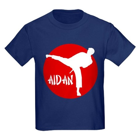 -Aidan Karate  Sports Kids Dark T-Shirt by CafePress