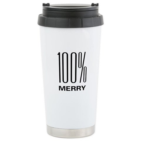 100 Merry  Holiday Ceramic Travel Mug by CafePress