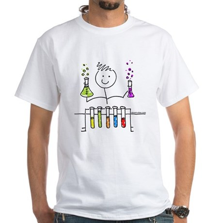 Science Stick Figure White T-Shirt