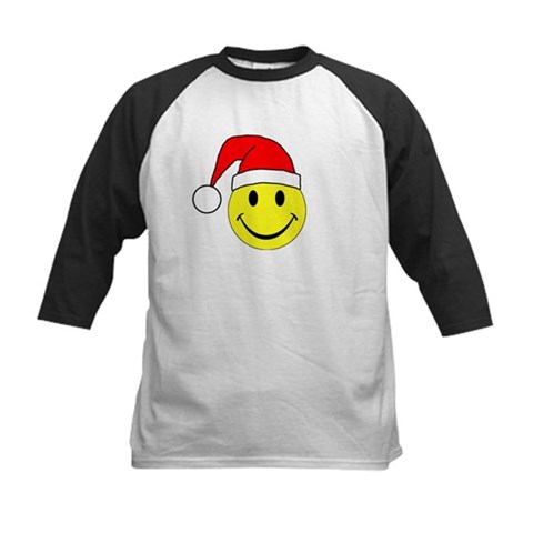 Christmas - Merry Christmas Santa Smiley Face Kids Holiday Kids Baseball Jersey by CafePress