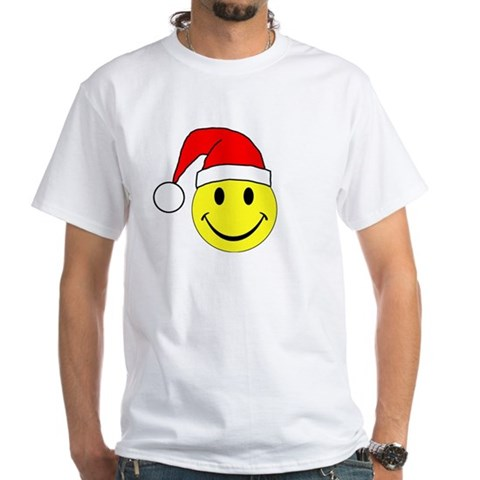Christmas - Merry Christmas Santa Smiley Face Whit Holiday White T-Shirt by CafePress
