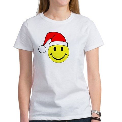 Christmas - Merry Christmas Santa Smiley Face Wome Holiday Women's T-Shirt by CafePress