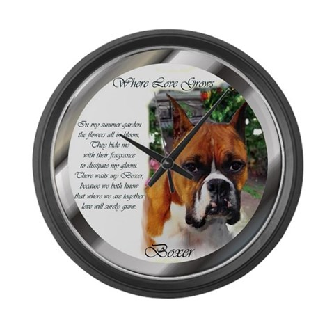 Boxer Dog Art Gifts  Pets Large Wall Clock by CafePress