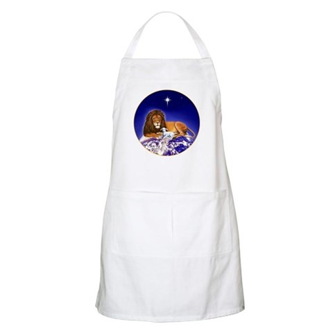 'Peace on Earth', Lion and Lamb BBQ  Animals Apron by CafePress