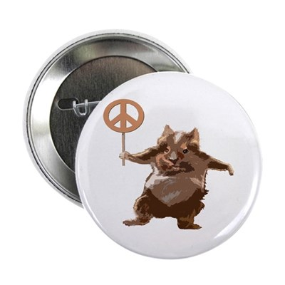 Peace Hamster Whimsical Metal Button